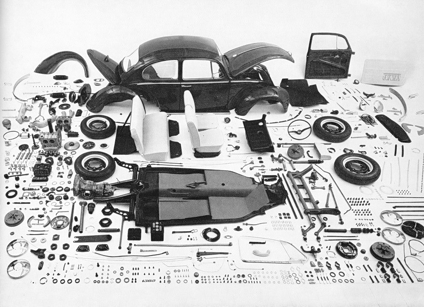 Disassemble VW Beetle parts