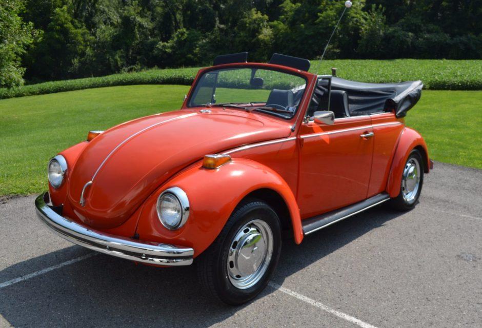 Orange 1971 VW Super Beetle Convertible.