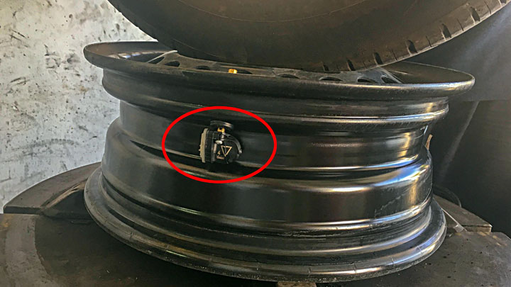 The TPMS sensors are located in the tire pressure valve